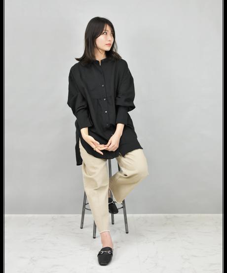 ブザム切替ロングシャツ black [211FB002-99]