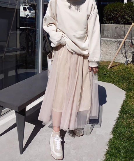 ラメチュール切替スカート beige [193CB014-15]