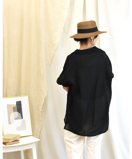 ダブルポケット ワッシャーシアーシャツ black [204FB006-99]