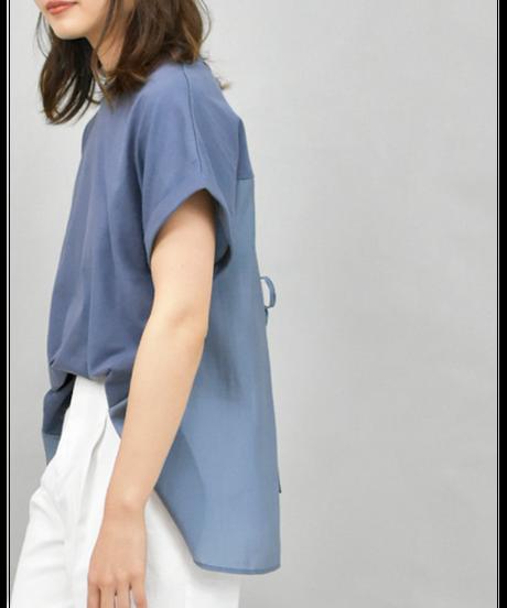 BACKシアー切替 スリットリボンTシャツ [211CB011]