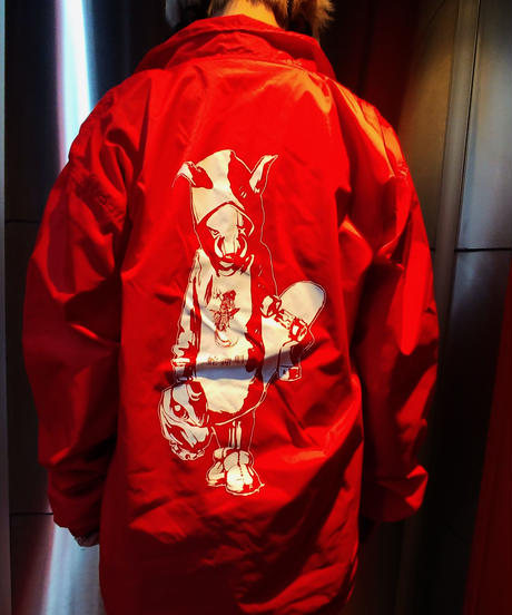 "【Bug Screaming】""MUTSUYO"" Coaches Jacket Red"