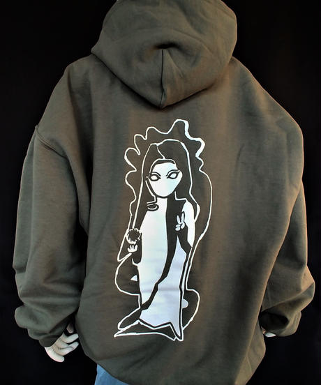 """India, Witch"" Hoodie  Military Green"