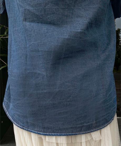 frill collar denim shirt