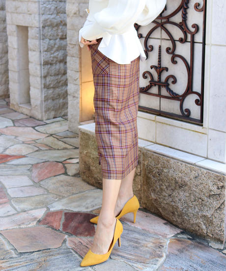 glen check tight skirt