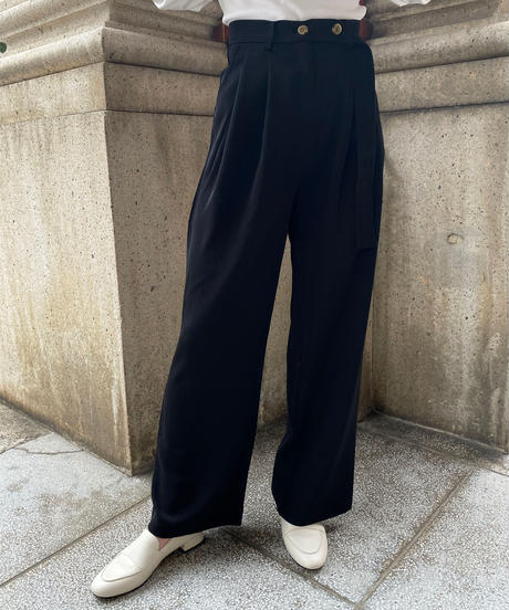 twill waist tuck wide pants