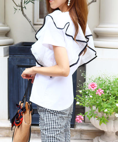 bicolor piping frill T-shirt
