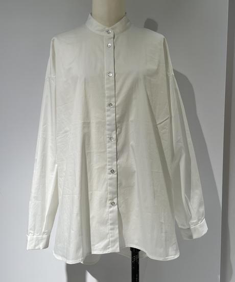 【Parc.1】Asymmetry knit × Band collar Shirt SET