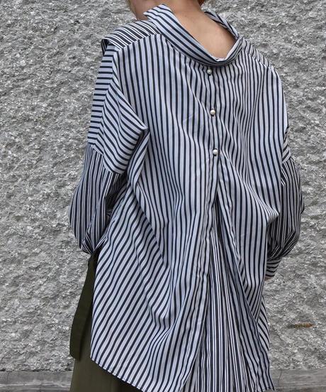 【Pearl button】Stripe Mix Big Shirt