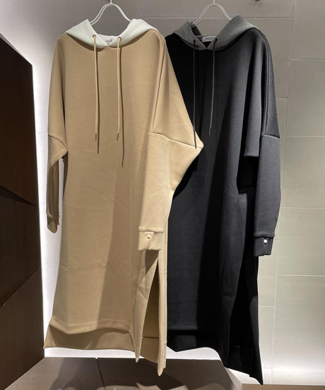 【Pearl button】  Double-knit hoody one-piece