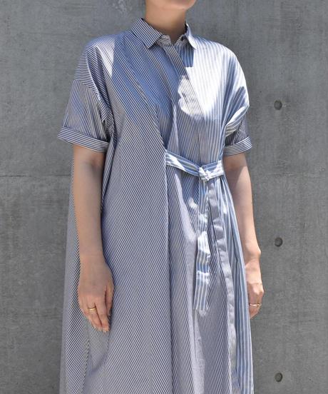 【Parc.1】Cotton Stripe  shirt One-piece