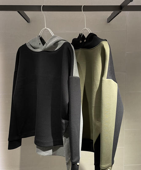 【Pearl button】Double-knit hoody Tops