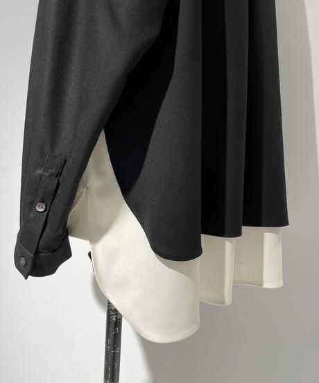 【Parc.1】Wool blend Stretch Layered Shirt