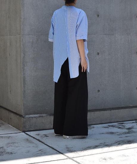 【Parc.1】Cotton Stripe Asymmetry shirt