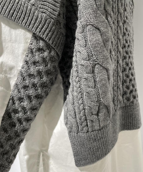 【Parc.1】Cable knit × Docking  Shirt