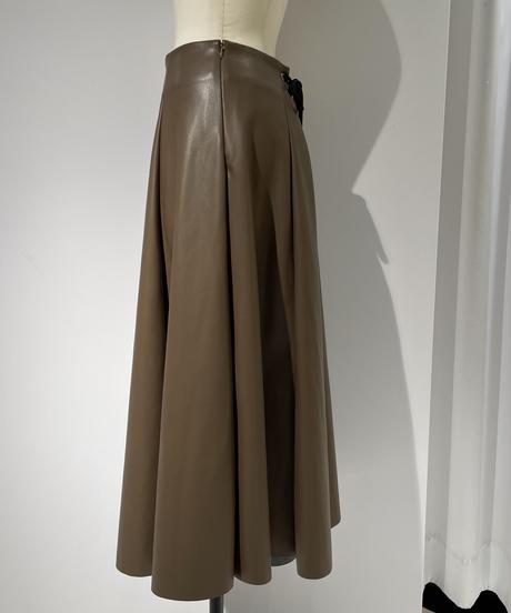 【Parc.1】Fake Lamb skin Flare Skirt