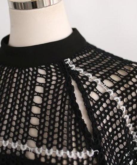かぎ針編みリボンロングワンピース