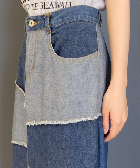 Vintage   Denim Patchwork Skirt