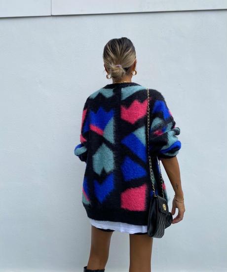 wide knit「geometric」#11106