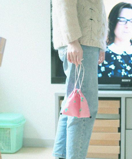 巾着ポーチ ピンク