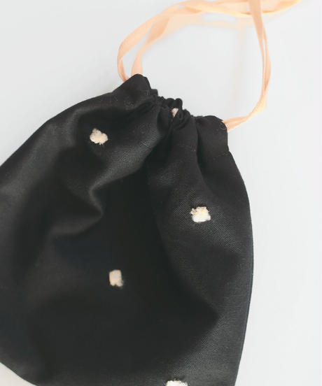 巾着ポーチ ブラック