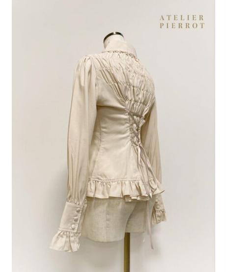 ATELIER-PIERROT/ピンタック丸襟ブラウス(ベージュ)