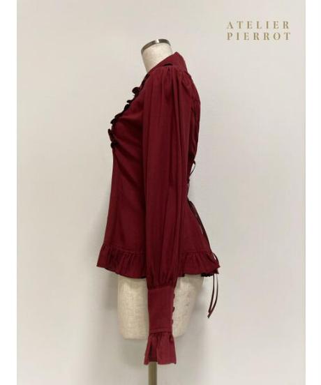 ATELIER-PIERROT/ピンタック丸襟ブラウス(ボルドー)