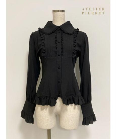 ATELIER-PIERROT/ピンタック丸襟ブラウス(ブラック)