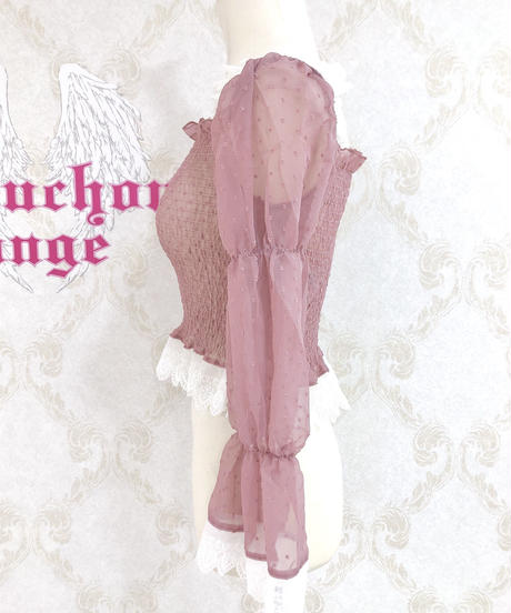Triple* fortune /ドットシフォンシャーリングブラウス(ピンク)