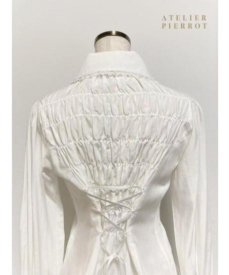 ATELIER-PIERROT/ピンタック丸襟ブラウス(ホワイト)