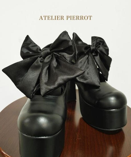 ATELIER-PIERROT/レースアップ厚底パンプス (ブラック)
