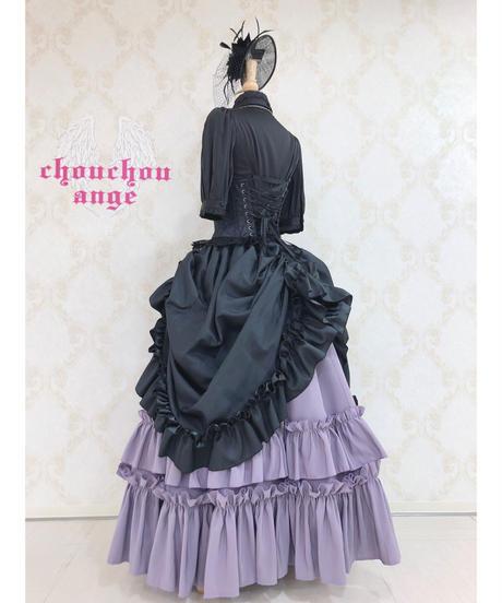 ATELIER BOZ/シャンタンロゼヴィアンロングスカート(ブラック×パープル)