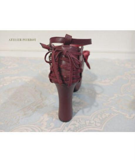 ATELIER-PIERROT/レースアップ厚底パンプス (Wine)