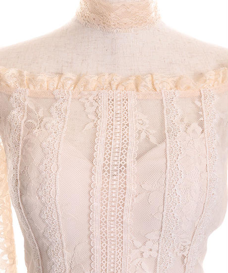 【Lサイズあり】オフショル×総レースタイトミニドレス[チョーカー付き](DE2071)