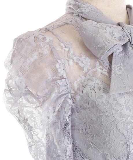 【Lサイズあり】リボンネック×アシンメトリーロングドレス(DE2100)