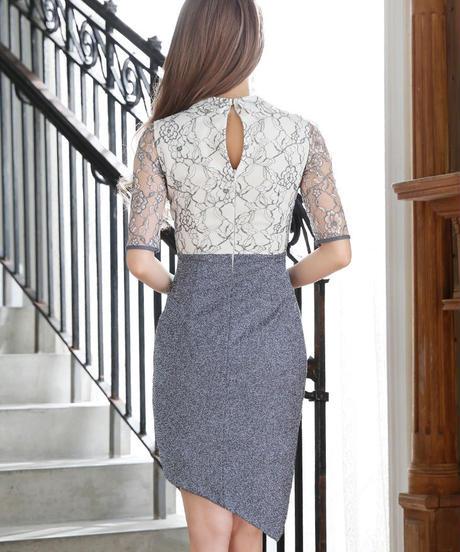 【XS~Lサイズあり】襟リボン×五分袖レース切替ミニドレス(DE1766)