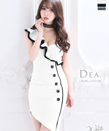 【Lサイズあり】アシンメトリー×タイトミニドレス[チョーカー付き](DE2087)