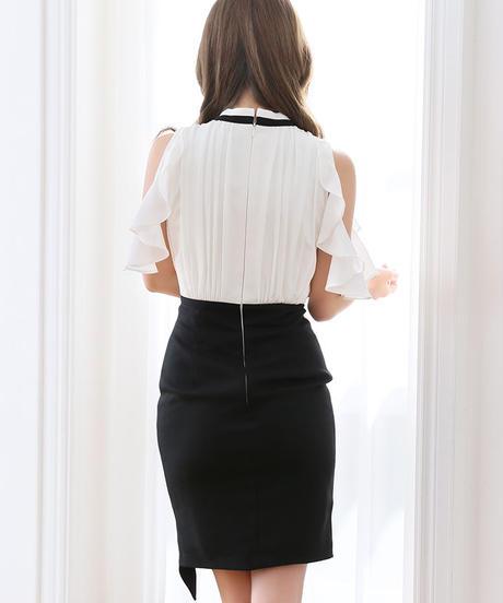【Lサイズあり】バイカラー×ストレッチタイトドレス(DE1939)