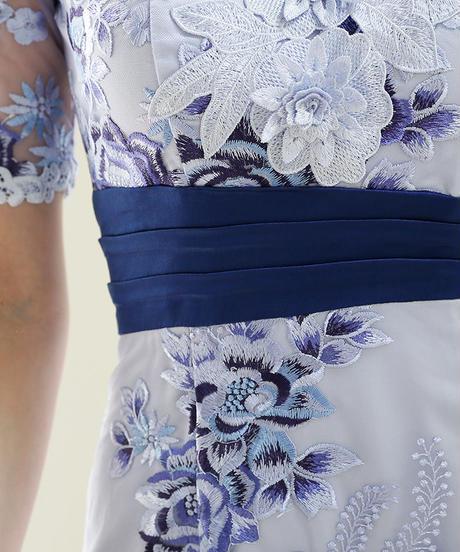【Lサイズあり】フラワー刺繍レース×オフショルタイトドレス(DE1495)