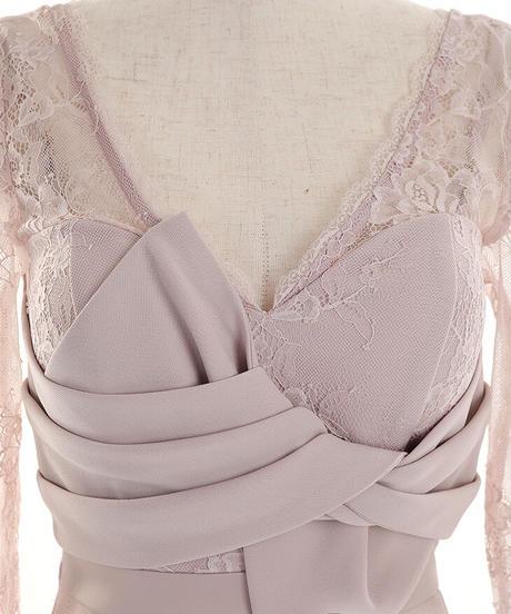【Lサイズあり】ロングスリーブ×刺繍レースタイトミニドレス(DE2303)