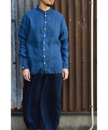 大麻シャツ(草木染)/ 藍x胡桃