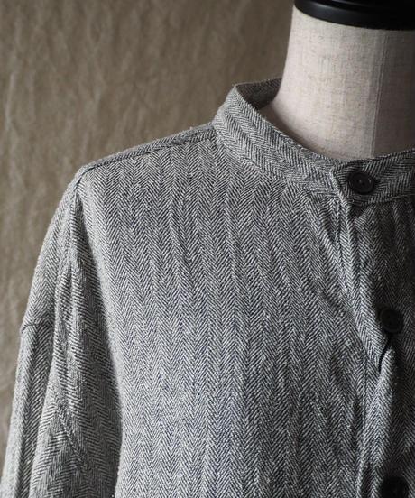 TISSU/シルクリネンバンドカラーシャツ/へリンボン/TS193SH077