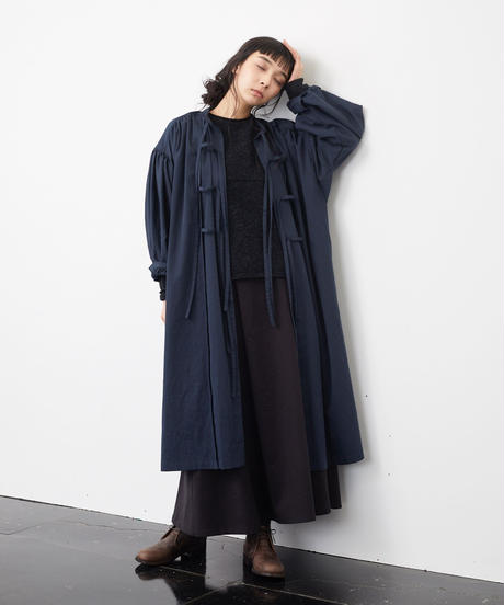 the last flower of the afternoon/静穏な光 smock dress(navy)