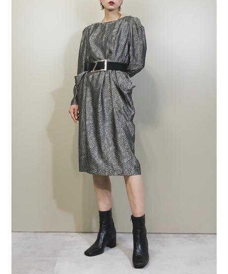 RORA-RORA annual rings puff sleeve dress-1744-3