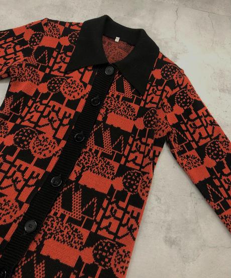 Retro Forest large collar knit cardigan-1592-1