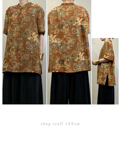 WeLLeL light brown band collar shirt-2031-7