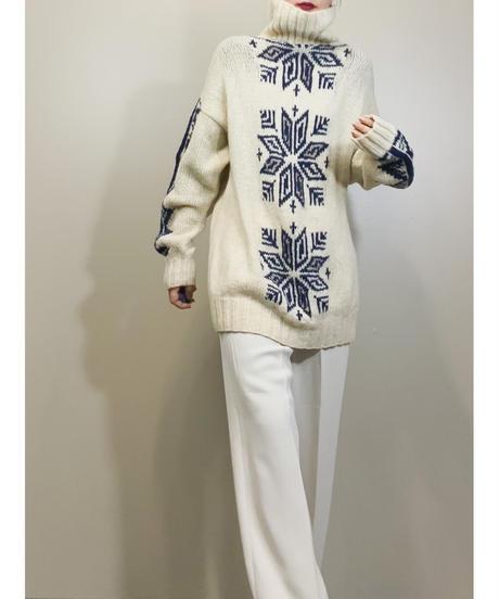 BRASS PLUM turtle neck nordic design knit-1542-11
