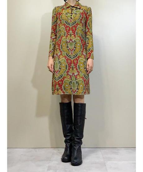 DORMELLO meterlal mede in ITALY 60s high neck dress-1460-10
