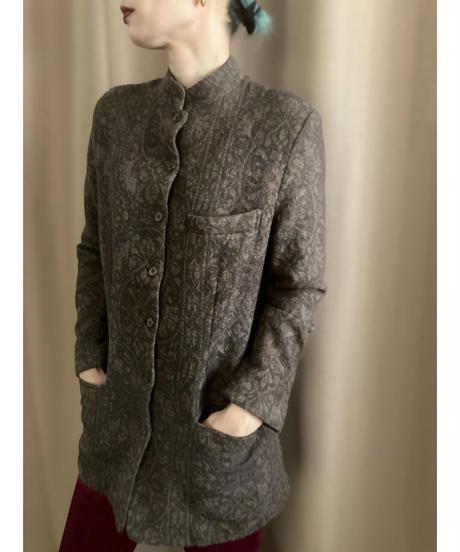 Ash brown band collar design wool long  jacket-2196-9