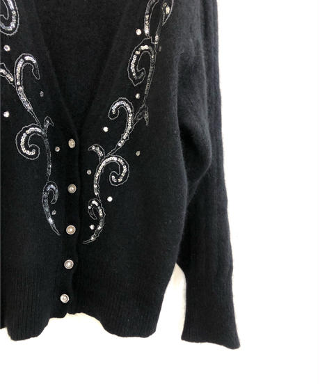 Sequins design neck angola knit cardigan-1590-1