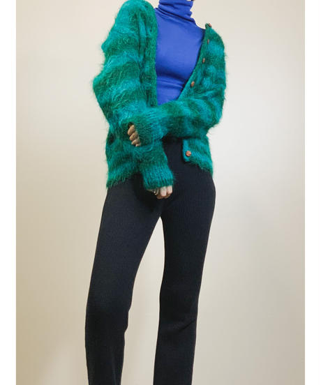 Monster striped  green fur cardigan-1538-11